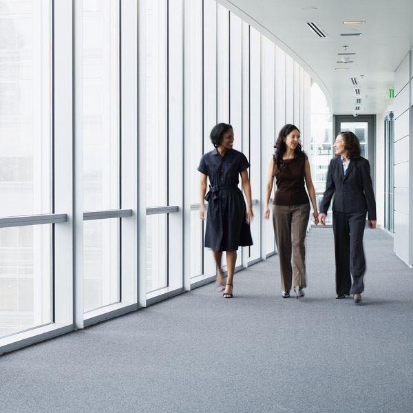 women walking during work break